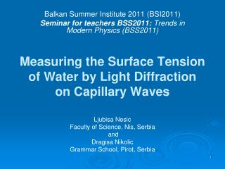 Measuring the Surface Tension of Water by Light Diffraction on Capillary Waves