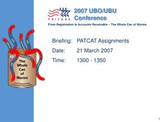 Briefing:	PATCAT Assignments Date:	21 March 2007 Time:	1300 - 1350