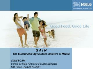 S A I N The Sustainable Agriculture Initiative of Nestlé  SWISSCAM