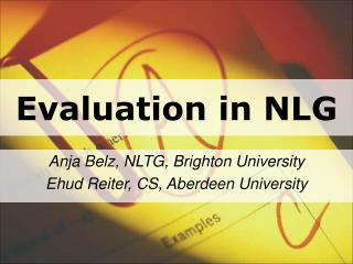 Evaluation in NLG
