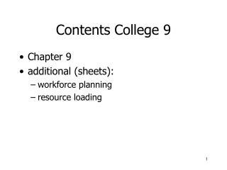 Contents College 9