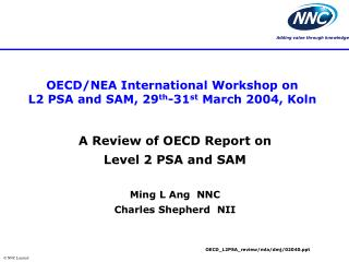 OECD/NEA International Workshop on  L2 PSA and SAM, 29 th -31 st  March 2004, Koln