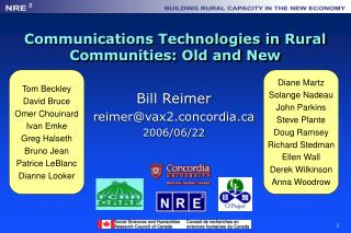 Communications Technologies in Rural Communities: Old and New