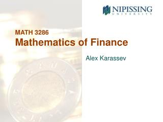 MATH 3286 Mathematics of Finance