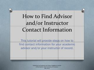 How to Find Advisor and/or Instructor Contact Information