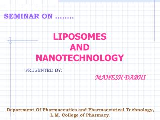 LIPOSOMES  AND NANOTECHNOLOGY