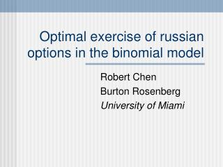 Optimal exercise of russian options in the binomial model
