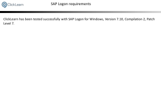 SAP Logon requirements