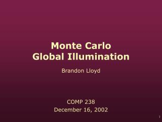 Monte Carlo  Global Illumination