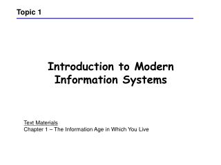Introduction to Modern Information Systems