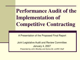 Performance Audit of the Implementation of Competitive Contracting