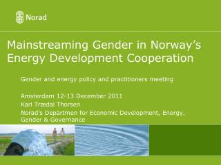 Mainstreaming Gender in Norway's Energy Development Cooperation