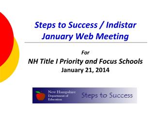 Steps to Success / Indistar January Web Meeting
