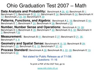 Ohio Graduation Test 2007 – Math