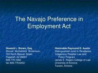 The Navajo Preference in Employment Act
