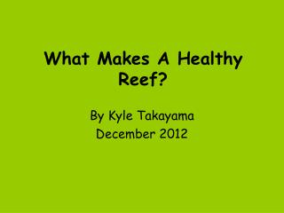 What Makes A Healthy Reef?
