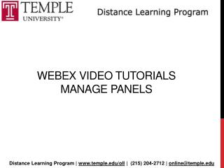 Webex  Video Tutorials  Manage panels