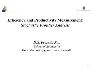 Efficiency and Productivity Measurement: Stochastic Frontier Analysis