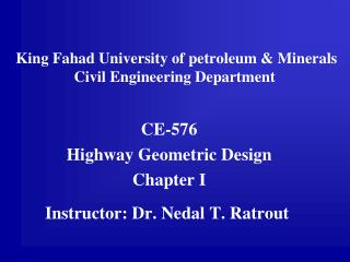 King Fahad University of petroleum & Minerals Civil Engineering Department