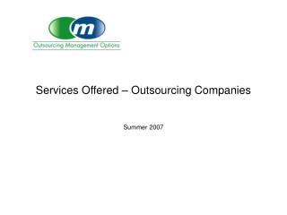 Services Offered – Outsourcing Companies