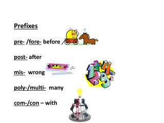 Prefixes pre-  / fore-  before p ost-  after mis -   wrong p oly-/multi-   many com-/con  – with