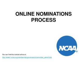 ONLINE NOMINATIONS PROCESS
