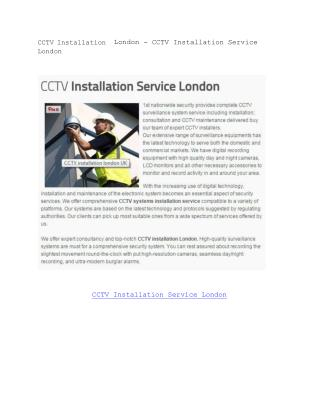 CCTV Installation London - CCTV Installation Service London