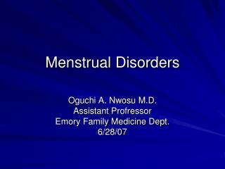 Menstrual Disorders