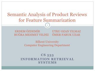 CS 533 Information Retrieval Systems