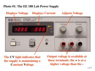 Displays Voltage     Displays Current        Adjusts Voltage
