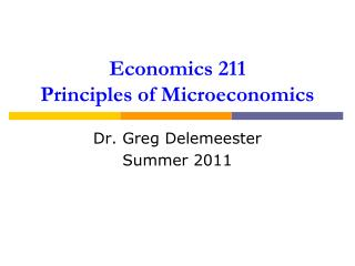 Economics 211 Principles of Microeconomics