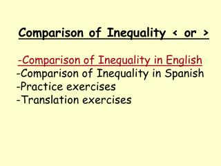 Comparison of Inequality < or > -Comparison of Inequality in English
