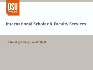 International Scholar & Faculty Services