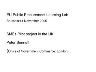 EU Public Procurement Learning Lab Brussels:14 November 2005 SMEs Pilot project in the UK