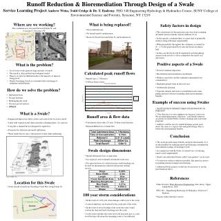 Runoff Reduction & Bioremediation Through Design of a Swale
