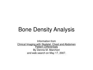 Bone Density Analysis