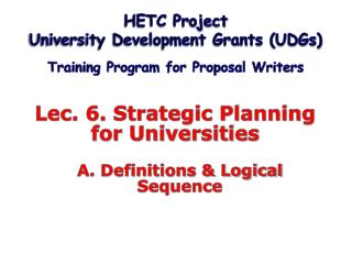 Lec. 6. Strategic Planning  for Universities