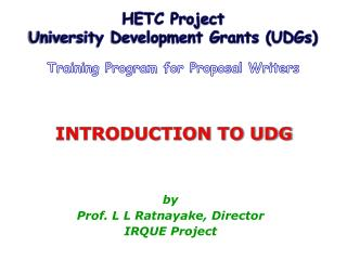 INTRODUCTION TO UDG