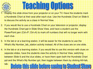 Teaching Options
