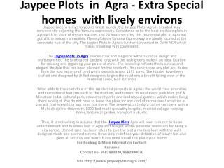 Jaypee Plots in Agra - Making Your Living A Delight
