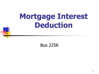 Mortgage Interest Deduction
