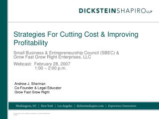 Strategies For Cutting Cost & Improving Profitability