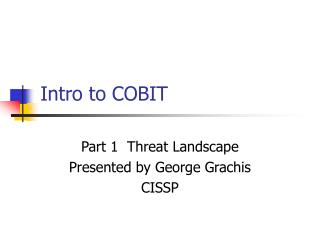 Intro to COBIT