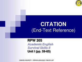 CITATION (End-Text Reference)