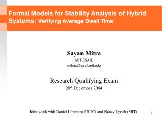 Formal Models for Stability Analysis of Hybrid Systems:  Verifying Average Dwell Time *