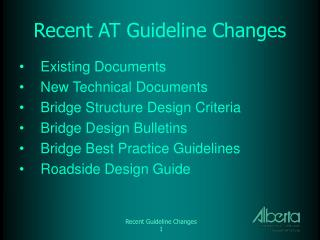 Recent AT Guideline Changes