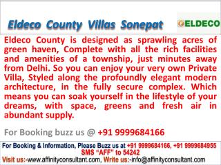 Eldeco County Villas sector 19 Sonepat @ 09999684166