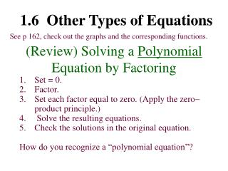 (Review) Solving a  Polynomial  Equation by Factoring
