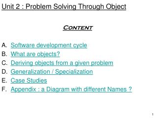 Unit 2 : Problem Solving Through Object