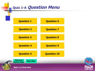 Quiz 1-A Question Menu